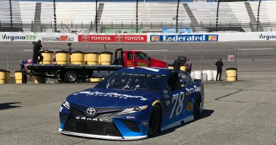 Martin Truex, Jr. No. 78 returning to the garage during practice