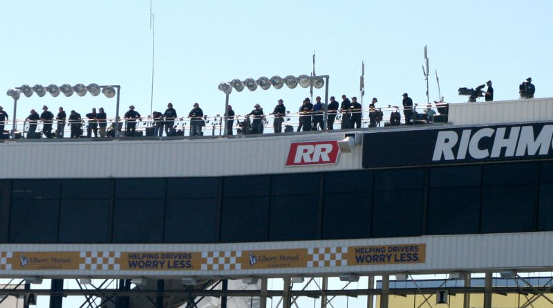 NASCAR spotters on Richmond Raceway roof